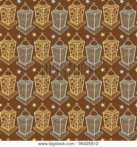 Vector seamless pattern with vintage lanterns.