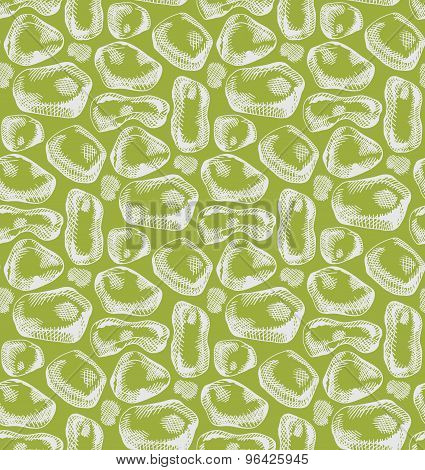 Vector Hand Drawn Graphic Seamless Pattern With White Stones Ob Green Background.