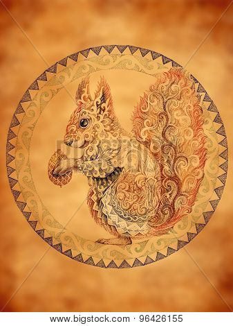 Squirrel With Patterns, Ornaments In Circle, Tattoo, Dotwork