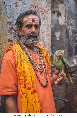 VARANASI, INDIA - 25 FEBRUARY 2015: Indian man pretending to be a sadhu holds parrot that shows wings. Post-processed with grain, texture and colour effect.