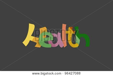 Health word, drawn lettering typographic design element. Hand lettering, handmade calligraphy isolated
