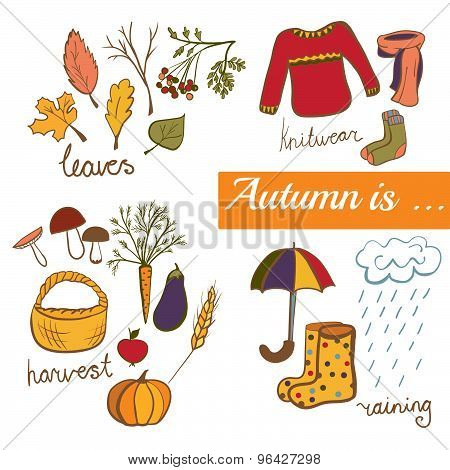 Vector Illustration Autumn Symbols