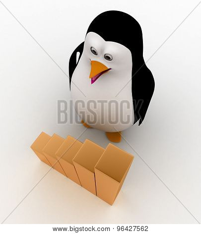 3D Penguin Standing In Front Of A Bar Graph Concept