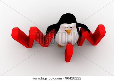 3D Penguin With Win Text Concept