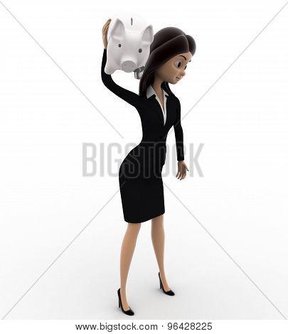 3D Woman Shaking Piggybank Concept