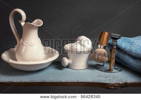 Shaving Equipment On Wood