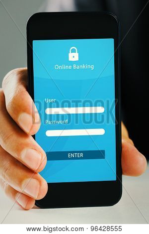 Hand showing smartphone against online banking