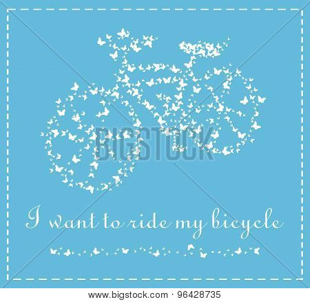 Vector bicycle of butterflies on a blue background