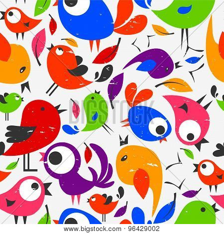 Seamless Pattern With Beautiful Colorful Birds