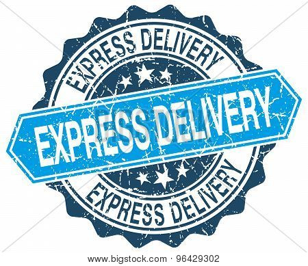 Express Delivery Blue Round Grunge Stamp On White