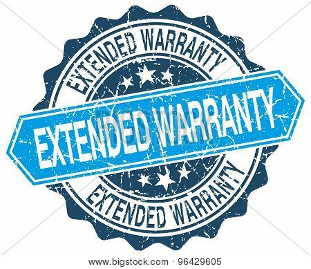Extended Warranty Blue Round Grunge Stamp On White