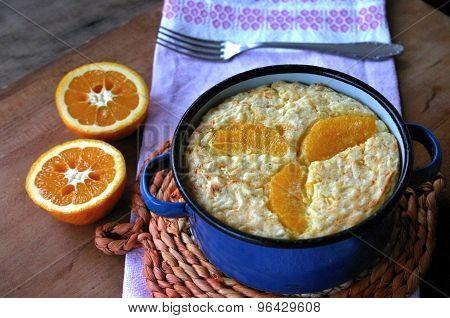 Baked rice pudding with orange