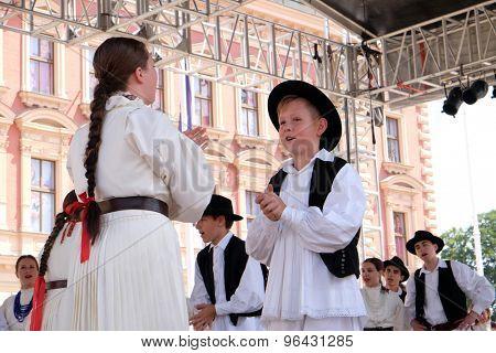 ZAGREB, CROATIA - JULY 19: Members of folk group Hrvatski narodni dom from Hamilton, Canada during the 49th International Folklore Festival in center of Zagreb, Croatia on July 19, 2015