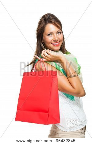 Fashionable Woman Looking Inside A Shopping Bag