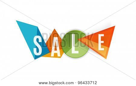 Sale word label banner, letters on geometric shapes. Web button or message for online web site, presentation or application