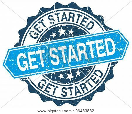 Get Started Blue Round Grunge Stamp On White