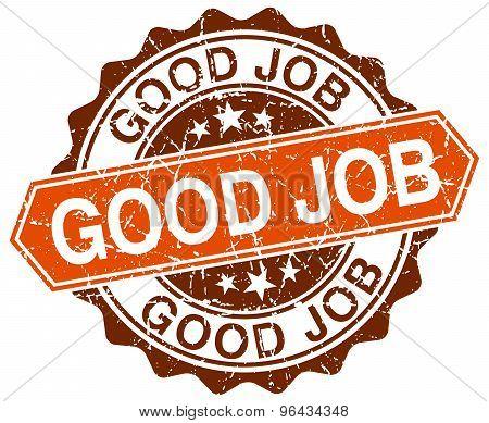 Good Job Orange Round Grunge Stamp On White
