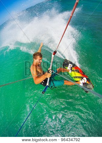 Kite Boarding. Fun in the ocean, Extreme Sport. POV View from Action Camera.