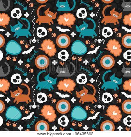 Cute Seamless Pattern With Cats