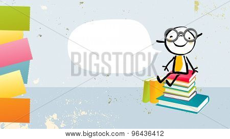 Nerd kid, girl sitting on a stack of books, with speech balloon. Back to school, education vector illustration.