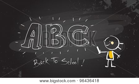 Smart little girl writing abc on blackboard. Back to school sketch, doodle style vector illustration, hand drawn stick figure.