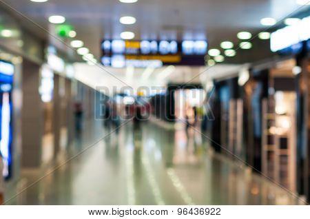 Blur background : Terminal of International Airport. Travel scene