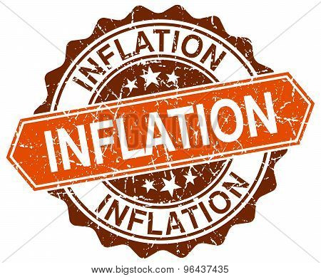 Inflation Orange Round Grunge Stamp On White
