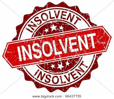 Insolvent Red Round Grunge Stamp On White