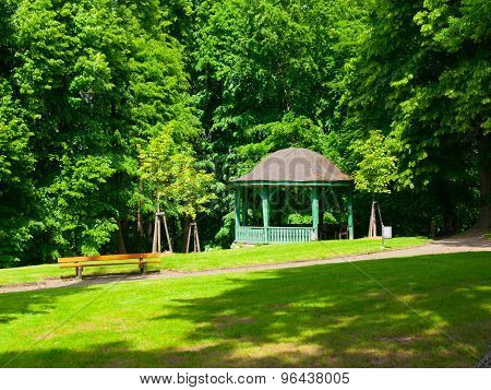 Wooden pavilion in the park