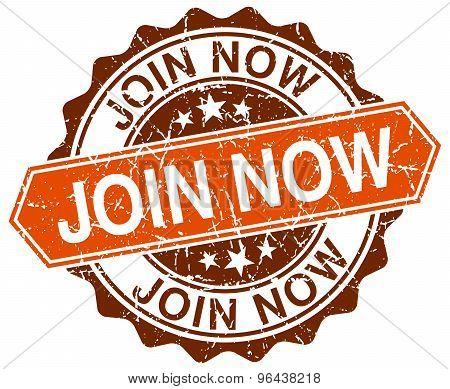 Join Now Orange Round Grunge Stamp On White