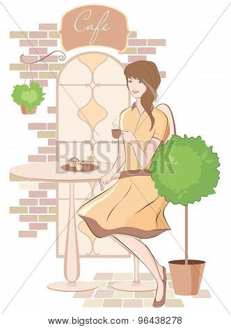 Girl  with cup of coffee at cafe