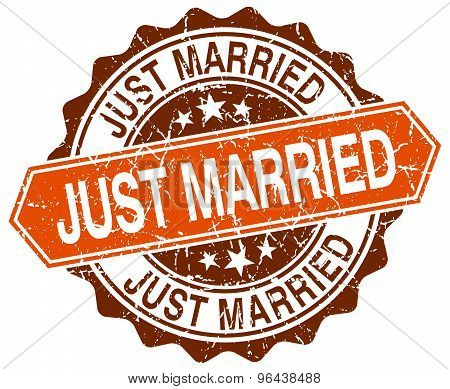 Just Married Orange Round Grunge Stamp On White