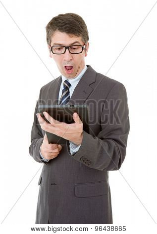 surprised businessman using touch pad of tablet pc, isolated