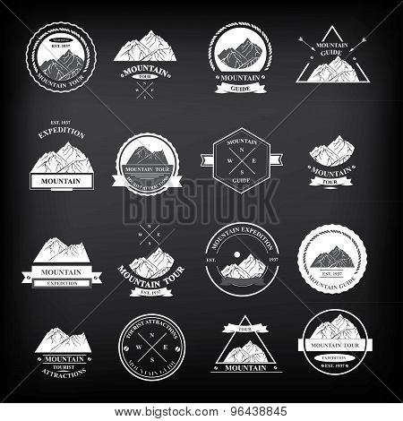 Set of expedition badges. Vector illustration.
