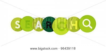 Word concept on color geometric shapes - search. Banner, web button. Web illustration or message for online web site, presentation or application