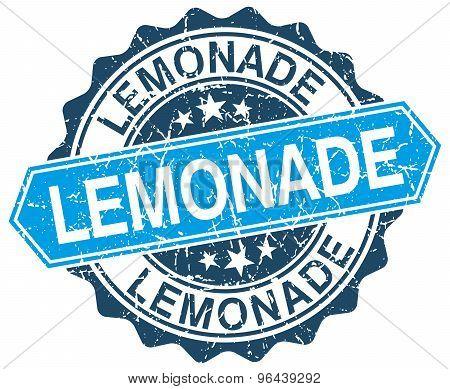 Lemonade Blue Round Grunge Stamp On White