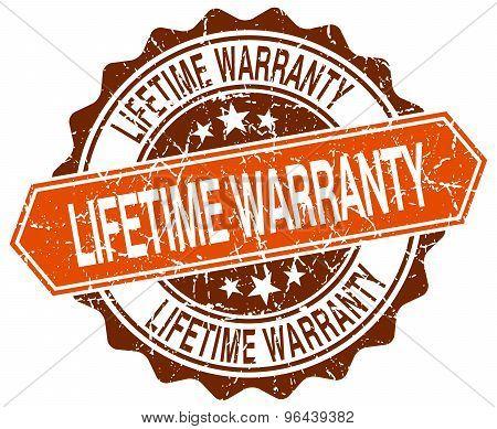 Lifetime Warranty Orange Round Grunge Stamp On White