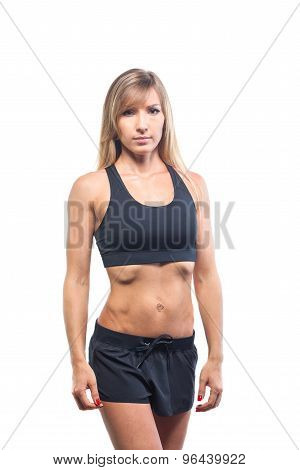 sport fitness woman, young healthy girl doing exercises, full length portrait isolated over white ba
