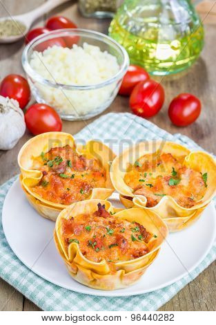 Homemade Lasagna Cups With Minced Meat, Bolognese Sauce Topped With Cheese