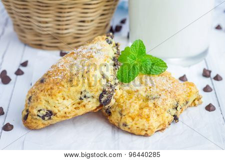 Homemade Sugar Coated Scones With Chocolate Chips