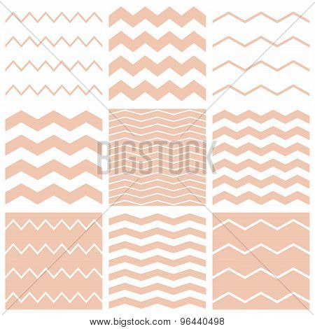 Tile vector pastel pink and white pattern set with zig zag background