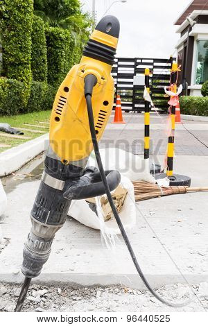 Jackhammer On Road / Jackhammer To Repair Road