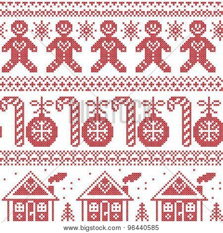 Scandinavian Nordic seamless pattern with ginger bread man, candy, ginger house, bauble, xmas trees