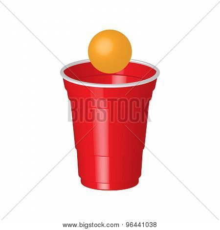Red Party Cup With Ping Pong Ball, Isolated On White Background