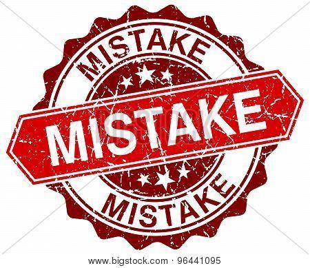 Mistake Red Round Grunge Stamp On White