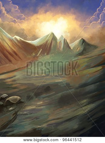 fantastic mountain illustration