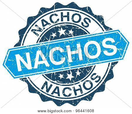 Nachos Blue Round Grunge Stamp On White