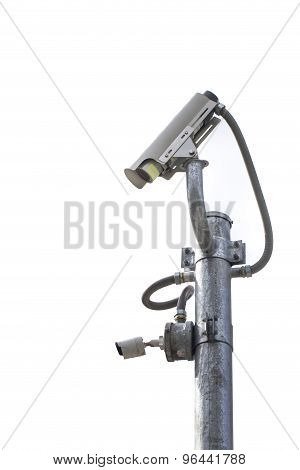 Outdoor Cctv Camera On The Pole With White Background