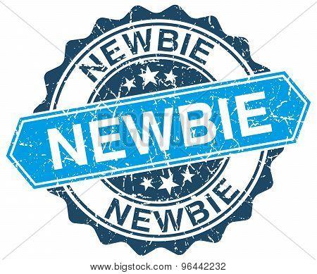Newbie Blue Round Grunge Stamp On White