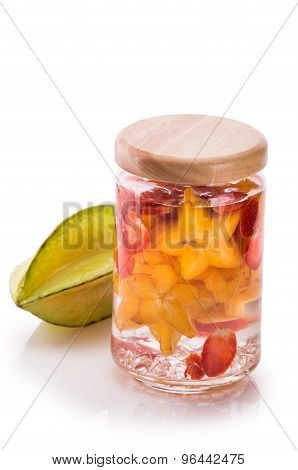 Infused Fresh Fruit Water Starfruit And Strawberry .isolated Over White